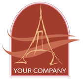A eiffel logo. A eiffel tower logo company stock illustration