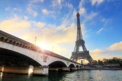 Eiffel morning bridge sunshine Royalty Free Stock Image