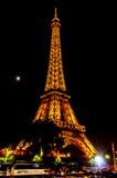 eiffel noc Paris wierza Obrazy Stock