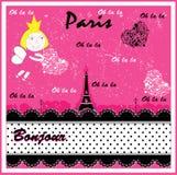Eiffel, Parijs in uitstekende stijlaffiche, vector Stock Fotografie