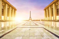 eiffel paris torn Sikt från det Trocadero fyrkantstället du Trocadéro Fotografering för Bildbyråer