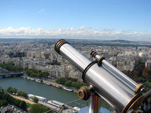 Eiffel's Spyglass. Photo taken from the top of the Eiffel Tower, aiming at the river Seine Royalty Free Stock Photography