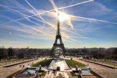 Eiffel sun cityscape Royalty Free Stock Photography