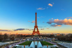 Eiffel sunset colors cityscape Stock Photos