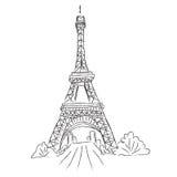 Eiffel tornet, Paris, Frankrike, skissar, vit bakgrund, vektor Arkivfoton