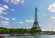 Eiffel tour over Seine river Stock Photography