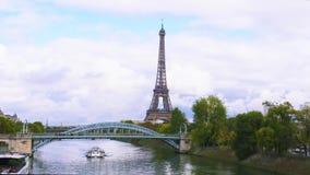 Eiffel tour over Seine river stock footage