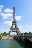Eiffel tour over Seine river Stock Images