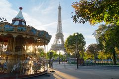 Eiffel tour and from Trocadero, Paris. Eiffel Tower with merry go round from Trocadero at sunrise, Paris, France Stock Image