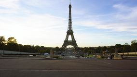 Eiffel tour and from Trocadero, Paris. Eiffel Tower from Trocadero at early morning, Paris, France stock footage