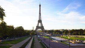 Eiffel tour and from Trocadero, Paris. Eiffel Tower and Trocadero gardens, Paris, France stock footage