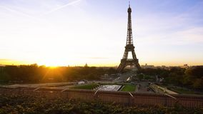 Eiffel tour and from Trocadero, Paris. Eiffel Tower from Trocadero with risinf sun, Paris, France stock video footage
