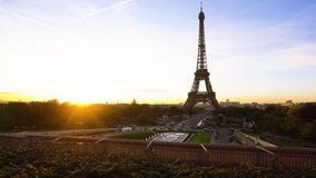 Eiffel tour and from Trocadero, Paris. Eiffel Tower from Trocadero with rising sun, Paris, France, timelaps stock video footage