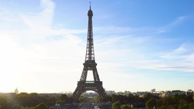 Eiffel tour and from Trocadero, Paris. Eiffel Tower from Trocadero at sunrise, Paris, France stock footage