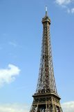 Eiffel Tower. Portait view of the top 2/3 of the Eiffel Tower in Paris, France. Empty space left stock photography