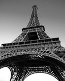 Eiffel Tower. On a sunny evening in black and white Stock Image