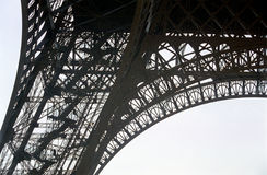 The Eiffel Tower. Close up of one of the legs of the Eiffel Tower Stock Photography