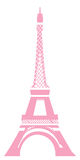 Eiffel tower. View of eiffel tower in pink with white background Stock Photos