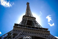 Eiffel Tower. Against the blue sky Royalty Free Stock Photo