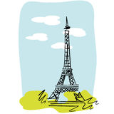 Eiffel Tower. Sketch in pastels Stock Photography