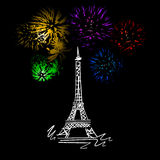 Eiffel tower. Sketch with fireworks at the Eiffel tower Royalty Free Stock Photography