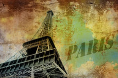 Eiffel tower. On grunge background Royalty Free Stock Images