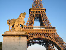 Eiffel Tower. Close-up of the famous Eiffel Tower in Paris at sunset royalty free stock photography