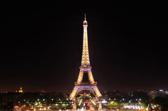 Eiffel Tower. At Dark Night royalty free stock images