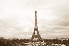 Eiffel tower. View of sepia toned Eiffel tower in Paris, France Stock Photo