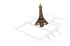 Eiffel Tower. Placed on scheme of streets Stock Images