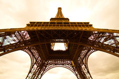 Eiffel Tower. In Paris in sepia tone Royalty Free Stock Photography