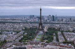 Eiffel Tower. Dark scene of Eiffel Tower aerial view, Paris Royalty Free Stock Image
