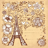 Eiffel tower. Hand drawn illustration with Eiffel tower Stock Photography