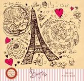 Eiffel tower. Hand drawn illustration with Eiffel tower Stock Photo