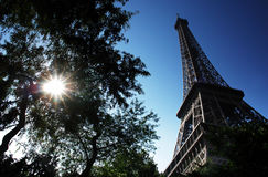 Eiffel tower. Morning sun on eiffel tower Royalty Free Stock Image