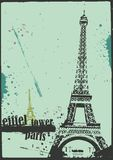 Eiffel tower. Vector eiffel tower in grunge style Stock Photos