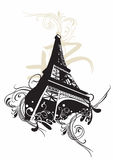 Eiffel tower. Illustration of the Eiffel tower and decorative patterns Royalty Free Stock Images