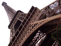 Eiffel Tower. A perspective of the Eiffel Tower in front of a white sky Royalty Free Stock Photography