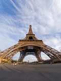 The Eiffel tower. Fisheye view of the Eiffel tower - Paris, France stock image