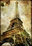 Eiffel tower. Picture in retro style Stock Photos