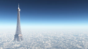 Eiffel Tower above the clouds Stock Image