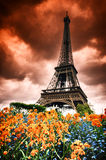 Eiffel tower with abstract red sky Royalty Free Stock Photos