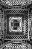 The Eiffel Tower, abstract view from below, Paris France. The Eiffel Tower, abstract view from below, Paris, France Royalty Free Stock Photography