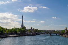 Eiffel tower. Across the river royalty free stock photo