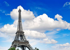 Eiffel Tower against cloudy blue sky Stock Photography