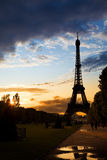 Eiffel Tower against a coloful sunset royalty free stock photos