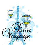Eiffel Tower and air balloons. On a blue watercolor background. Travel background with Bon voyage lettering Royalty Free Stock Image