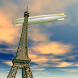 Eiffel Tower with Airship Royalty Free Stock Images
