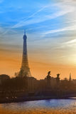 Eiffel tower and The Alexander III Bridge. Paris, Royalty Free Stock Images