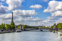 Eiffel Tower. And the alexander 3 over the Seine river in Paris, France royalty free stock images